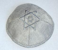 Gray Linen Kippah Silver David Star Embroidery w Pin Spot Judaica 17 cm Israel  image 2