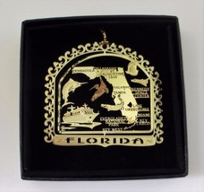 Florida Brass Ornament State Landmarks Black Leatherette Gift Box - $14.95