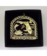 Florida Brass Ornament State Landmarks Black Leatherette Gift Box - $14.95