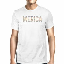 'Merica Mens White T-Shirt Unique Graphic Tee For Fourth Of July - $20.58