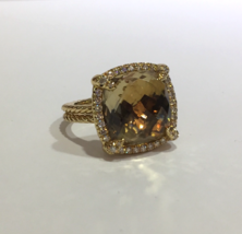 David Yurman Chatelaine Pave Bezel Ring With Champagne Citrine And Diamonds - $2,340.00