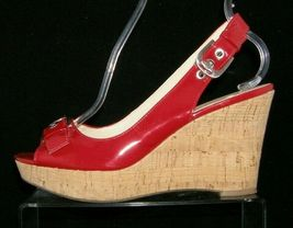 Franco Sarto 'Carnival' red peep toe buckle slingback cork platform wedges 9M image 11