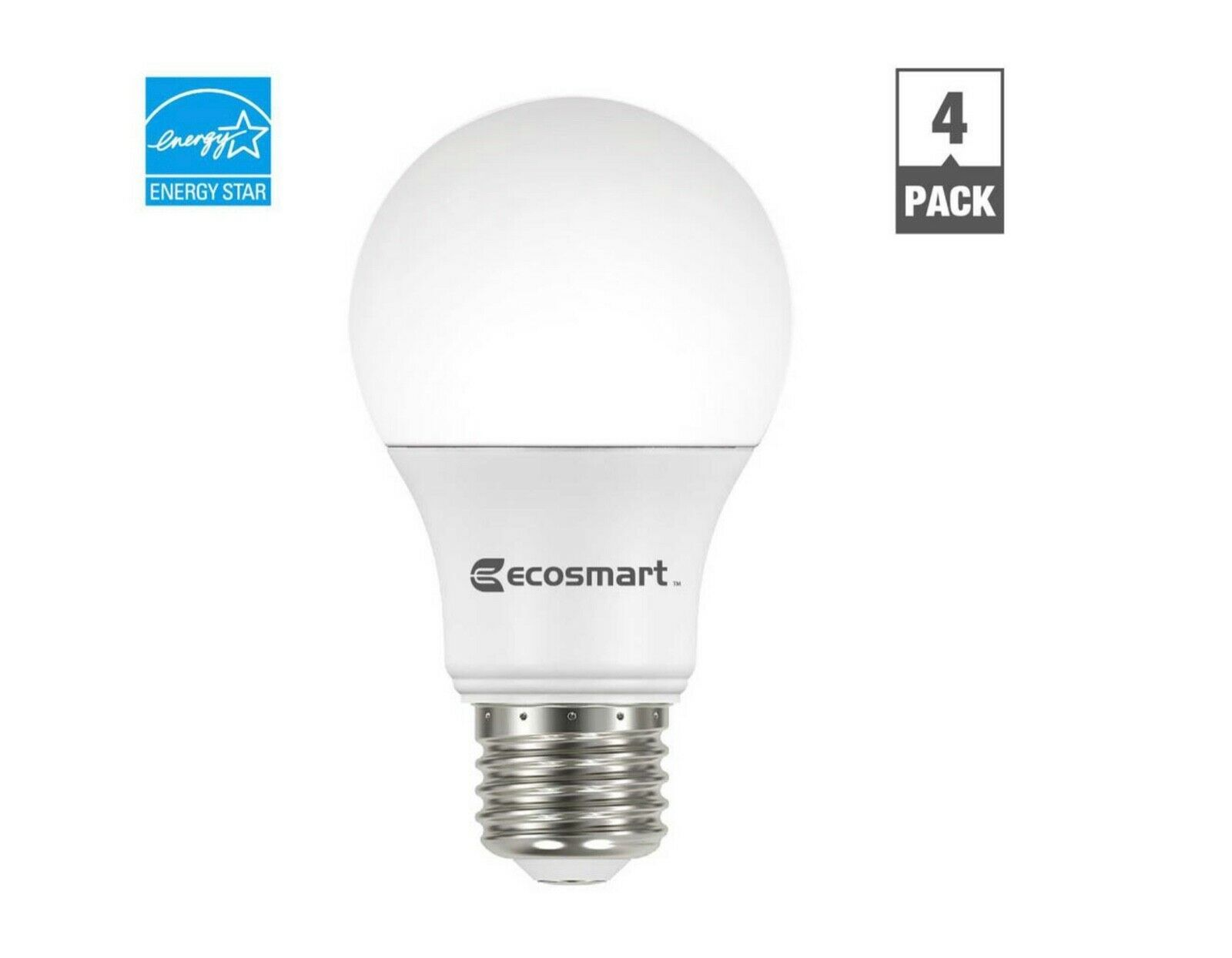 Primary image for Ecosmart 40-Watt Equivalent A19 Dimmable LED Light Bulb Soft White (4 Pack)