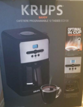 KRUPS 12-Cup Savoy Programmable Digital Coffee Maker EC3130 BLACK NEW  - $64.80