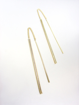 GORGEOUS Chic Artisanal Minimalist Thin Gold Bar Dangle Chain Threader E... - £13.13 GBP