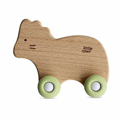 Little Rawr Wood Wheelie Toy - Made of Silicon & Oak - Easy to Clean Rolling Ani