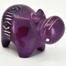Crafts Caravan Soapstone Magenta Purple Hippopotamus Hippo Figurine Made Kenya