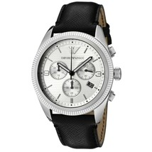NEW Emporio Armani AR5895 Chronograph Watch with Black Leather Strap and Silver  - £75.37 GBP