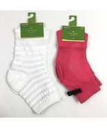 Kate Spade Sheer Top Anklet Socks Bow Cuff White Striped Lot Two Pair Tr... - $7.88