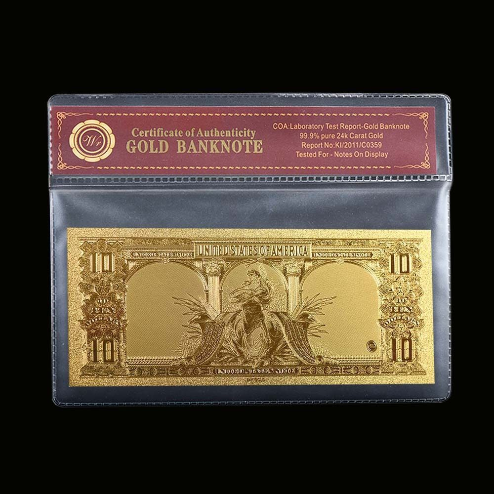 24K GOLD FOIL 1901 $10 DOLLAR BILL BANKNOTE CURRENCY GOLD NOVELTY MONEY W//COA
