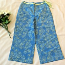 Talbots Tropical Capri Pants Crop Sz 2 P S Side Tie Blue Green Pineapple... - $13.23