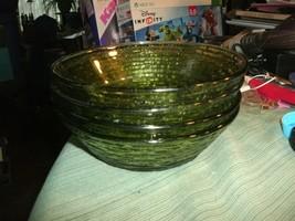 "017#   4 Vintage Fire King Avocado Green 6"" Glass Soreno Soup Cereal Sal... - $13.85"