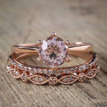 1.00Ct AAA 3Pcs Bridal Engagement Solitaire Ring Set 14K Rose Gold Over Silver - $124.79