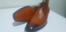Handmade Men's Brown Leather High Ankle Chukka Boots image 1