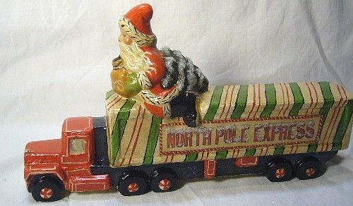 Vaillancourt Follk Art Santa Riding the North Pole Express  SIGNED!    no. 17036