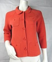 Talbots Women's Knit Jacket Orange Button Down Collared Pockets Cotton S... - $16.69