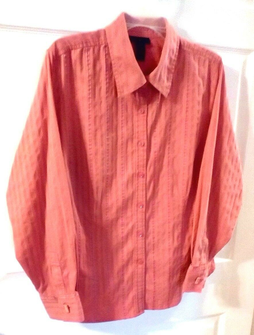 Primary image for Lane Bryant Shirt Blouse Top Women's Long Sleeve Peach Pink Size 18/20