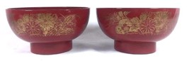 Vintage Japanese Gold Gilt Floral Pattern Red Lacquer 2 Rice Bowls Miso ... - $23.01