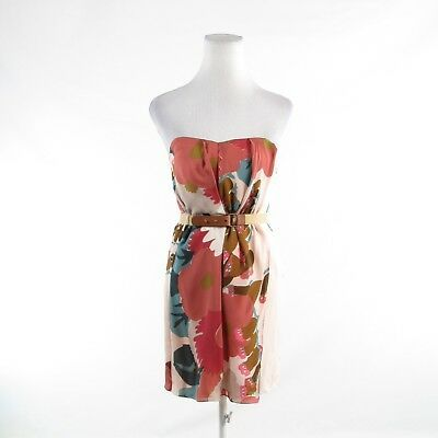 Primary image for Salmon pink green floral print 100% silk TIBI strapless sheath dress 0