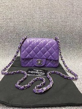 AUTHENTIC CHANEL 2017 PURPLE QUILTED PATENT LEATHER SQUARE MINI CLASSIC FLAP BAG