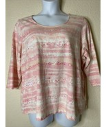 Ruby Rd. Womens Plus Size 2X Pink Watercolor Sequin Striped Blouse 3/4 S... - $19.80