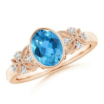 Oval Shape Blue Topaz & CZ Diamond 14K Rose GP Engagement Wedding Ring - $92.99