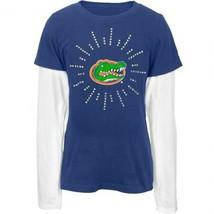 NCAA FLORIDA GATORS GIRL'S JUNIORS 18 BLUE BLINGED LONG SLEEVE SHIRT NEW - $16.97