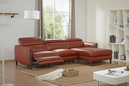 J&M Nina Contemporary Premium Ochre Leather Motion Sectional Sofa Right Hand