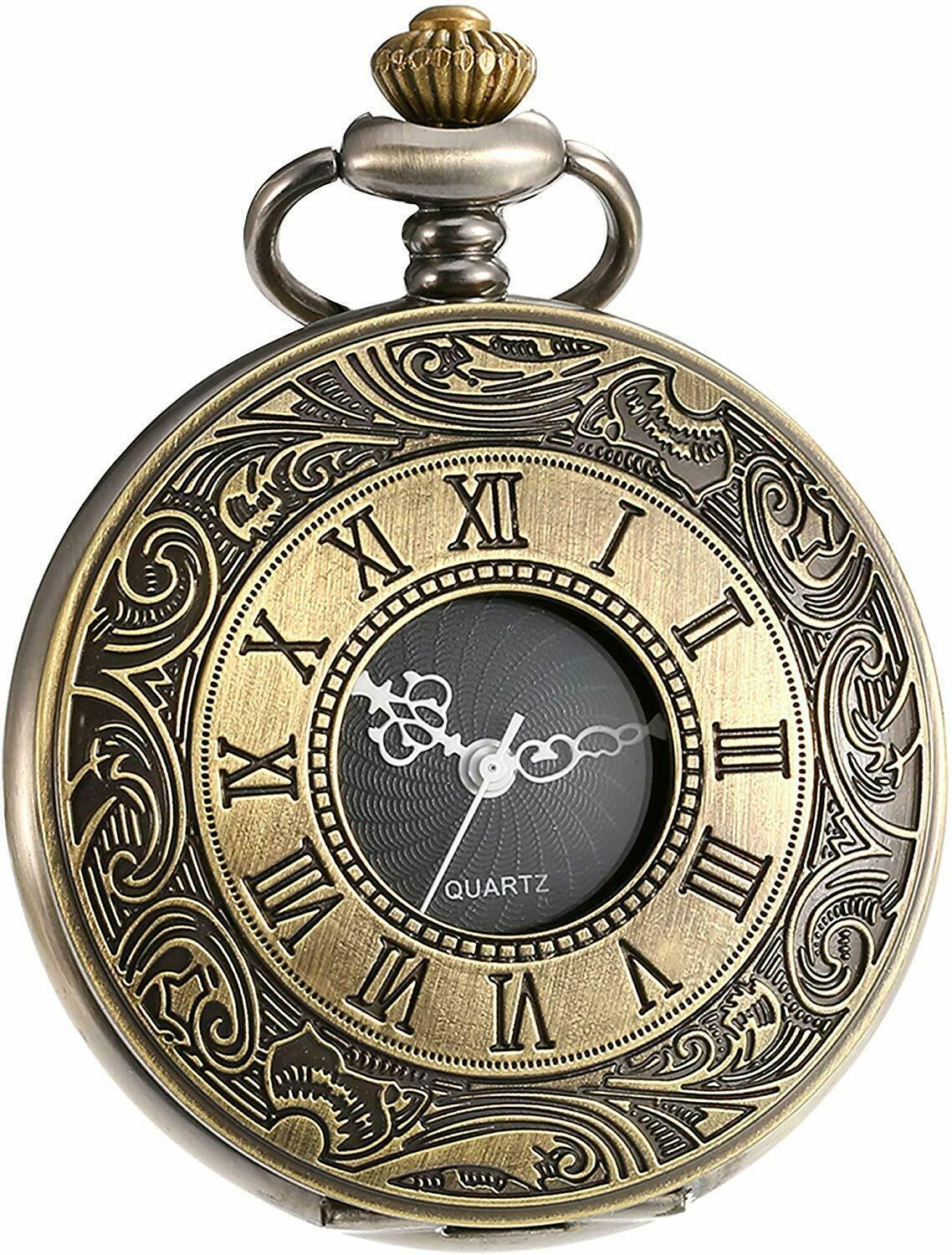 Primary image for Vintage Roman Numerals Scale Quartz Pocket Watch with Chain