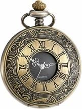 Vintage Roman Numerals Scale Quartz Pocket Watch with Chain - $27.99