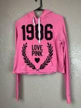 Victorias Secret PINK Crop Hoodie Cropped Sweatshirt Love Pink 1986 Size... - $16.79