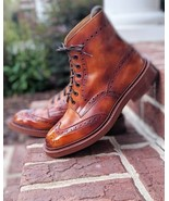 New Brown Leather Oxfords WingTip Brogue High Ankle Lace Up Formal Boot  - $166.73+