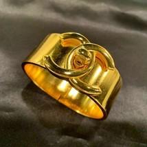 Auth Chanel turn lock bracelet bangle vintage vintage GP gold engraved - $1,249.77