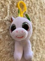 Ty Beanie Boo White Fleece Unicorn Pixy Rainbow Mane Keychain Backpack Toy - $6.43