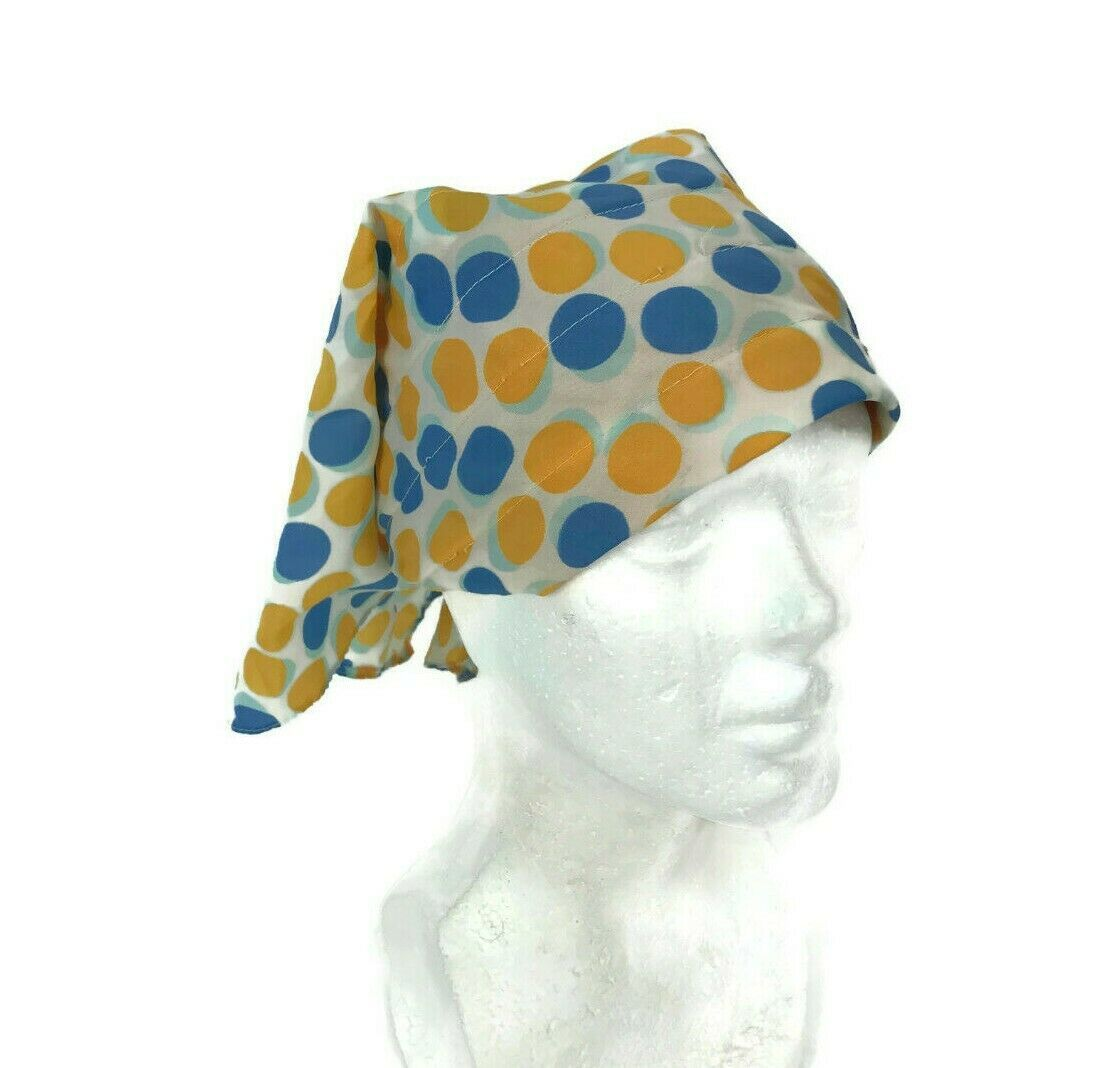 Primary image for Vintage 1960s Women's Hair Driving Head Scarf Blue Yellow Polka Dot Nylon OS J2