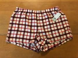 BP Women's Flannel Boxer Shorts Ivory Egret Rose Plaid Size S - $8.99