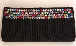La Regale Black/Multicolor Beaded Clutch - $11.63