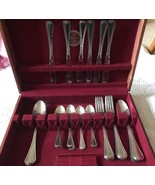 Delco Barcelona Pattern Flatware Naken wood Box 29 pc 6 knives 14 spoons 9 forks - $121.22