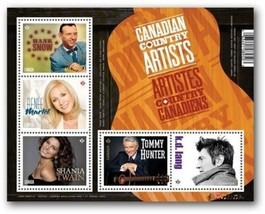 Stamps Canada Country Artists Souvenir Sheet 2014 Lang Shania Martel Hun... - $6.64