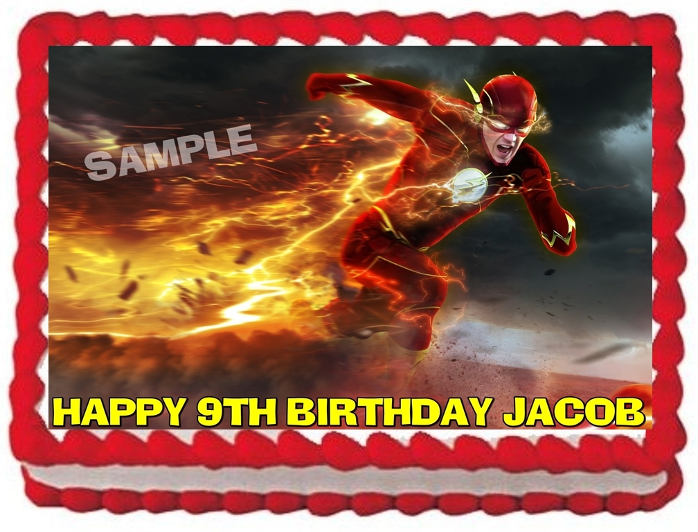 THE FLASH EDIBLE CAKE TOPPER BIRTHDAY CAKE PARTY ...