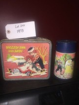 Vintage Raggedy Ann and Andy Metal Lunch Box W/ Thermos 1973 Aladdin lot... - $46.74