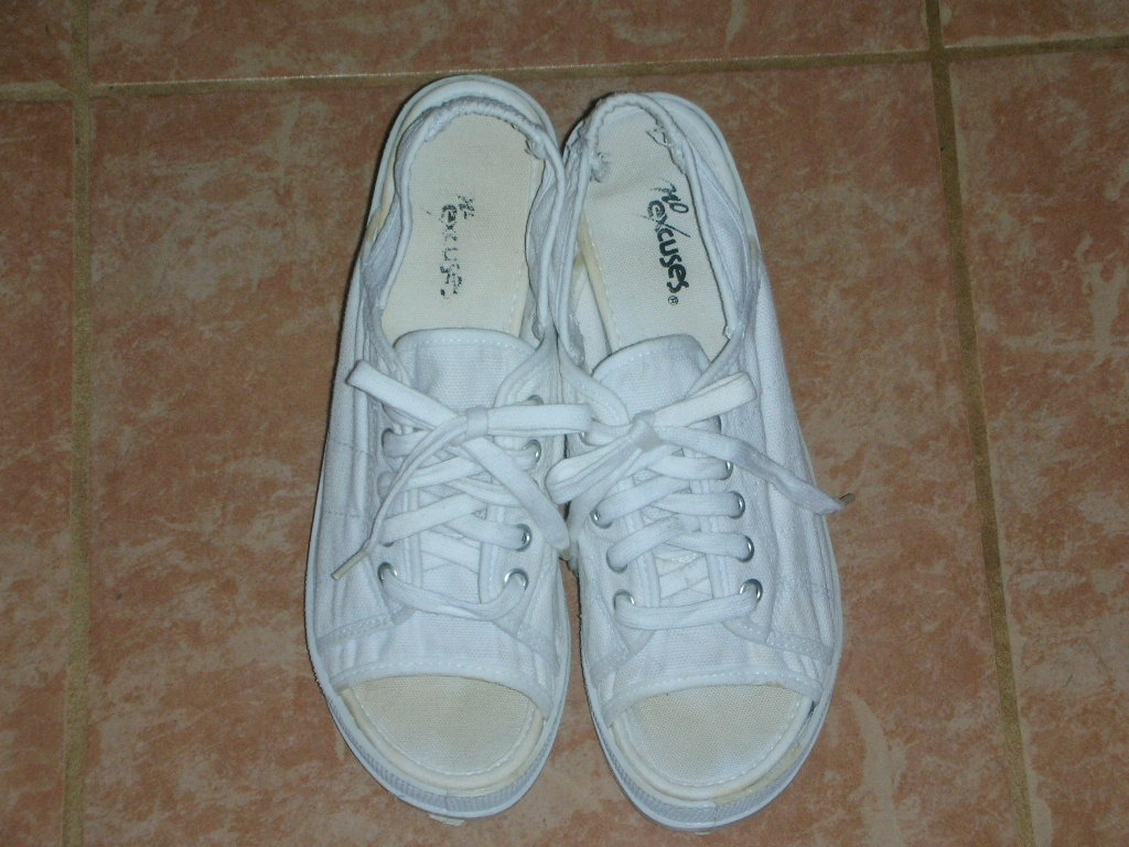 High Heel Sneakers White Canvas 1990s Vintage Women's Size 7