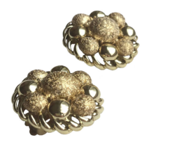 50s-60s Vtg Coro Signed Chunky Ball Cluster Brushed Glossy MOD Clip On E... - $32.00
