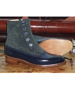 Handmade Suede Leather Ankle Boot, Men Two Tone Blue Gray Boot, Mens But... - $169.97+