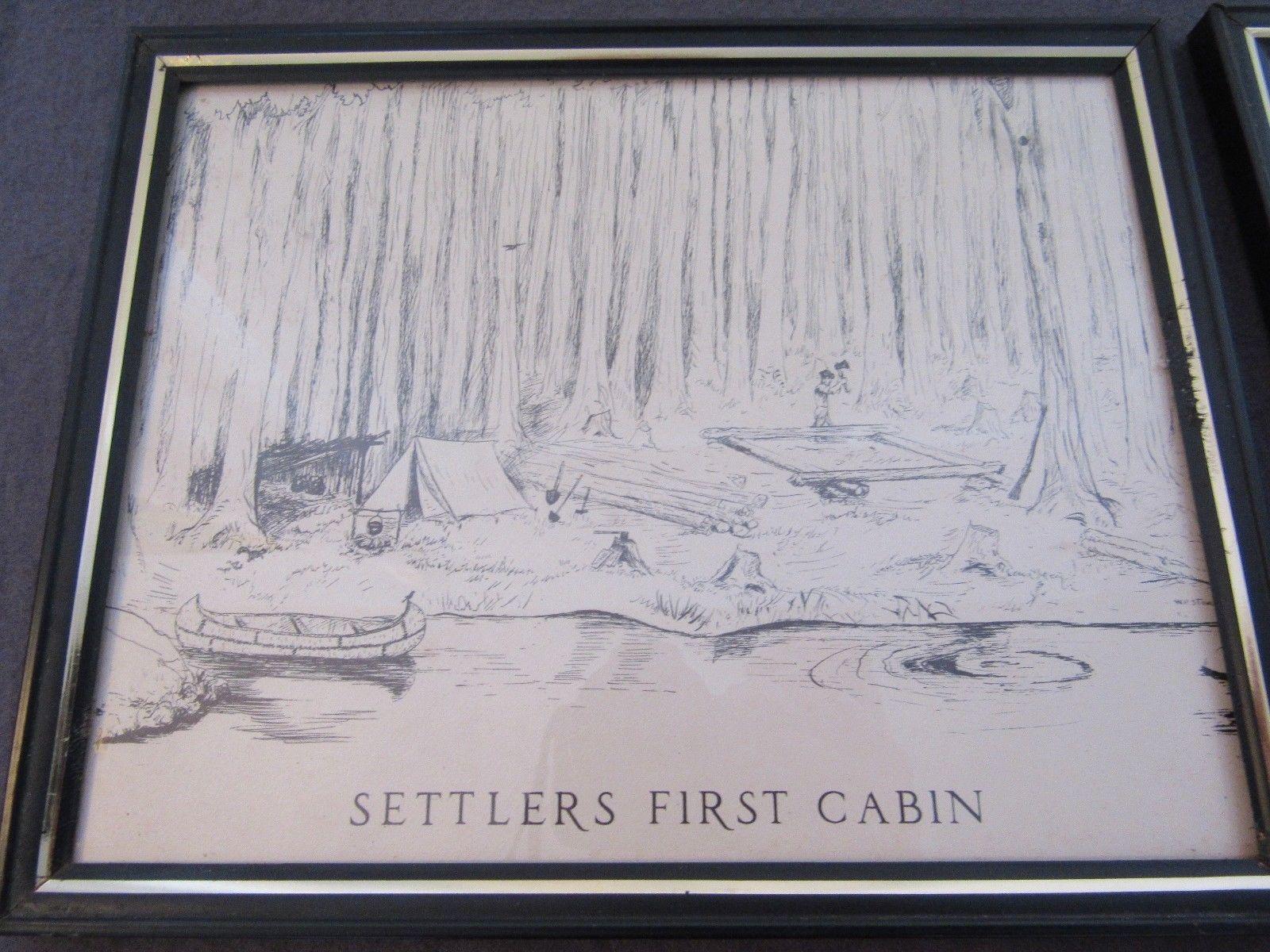 """Set of 4 Storgaard Vtg  Pen & Ink Drawings American Frontier Pioneer 8"""" by 10"""""""
