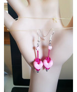 pink heart earrings long drop dangles beads plastic glass beaded handmad... - $5.99
