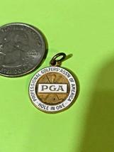 Vintage PGA GOLF  Hole in One Gold Medal, White Enamel , Pendant 1960's - $44.55