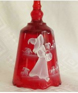 Fenton Glass Ruby Red Handpainted Halloween Bell Mary Gregory HALLOWEEN ... - $55.50