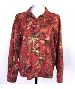 Coldwater Creek Floral Button Front Jacket Womans Large Cotton Red Tan G... - $33.81