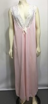 Secret Accents Womens M Pink Long Nylon Silky Nightgown Sleeveless Made ... - $57.33